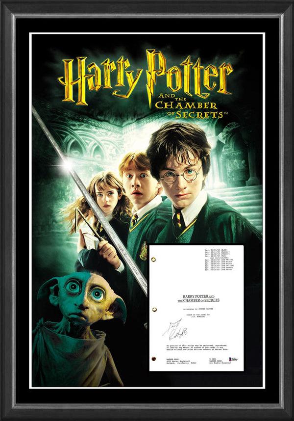 HARRY POTTER and the Chamber of Secrets - Daniel Radcliffe Signed & Framed Movie Script Case with Beckett USA authentication !!!!