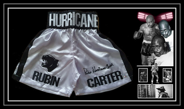 Rubin 'HURRICANE' Carter Signed & Framed Boxing Trunks