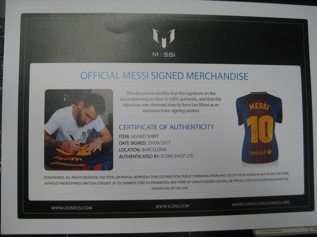competitive price 7f8ed a0a80 2018 Lionel Messi Signed & Framed Shirt Jersey ...