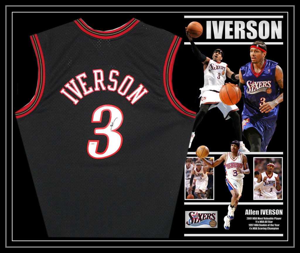 Allen IVERSON Philadelphia 76ers Signed & Framed Black Jersey with James Spence Authentication