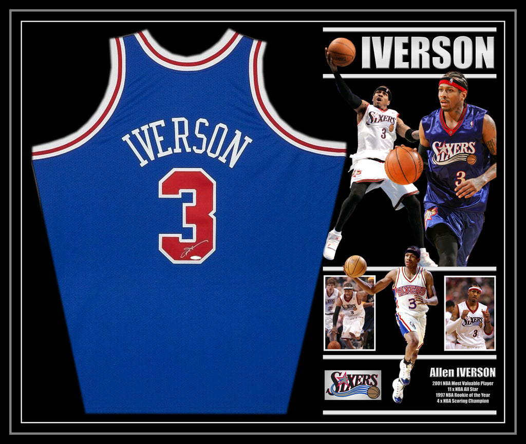 Allen IVERSON Philadelphia 76ers Signed & Framed Blue Jersey with James Spence Authentication