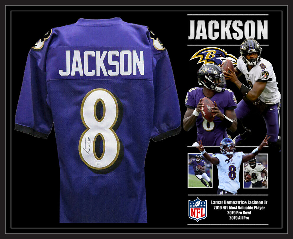 Lamar JACKSON Baltimore Ravens Signed & Framed NFL Jersey with James Spence USA Authentication