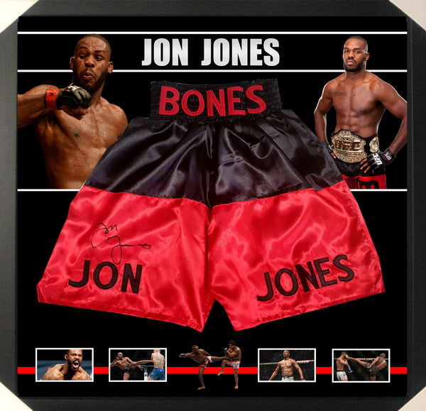 JON JONES UFC WORLD CHAMPION SIGNED & FRAMED TRUNKS SHORTS - PSA DNA Authenticated