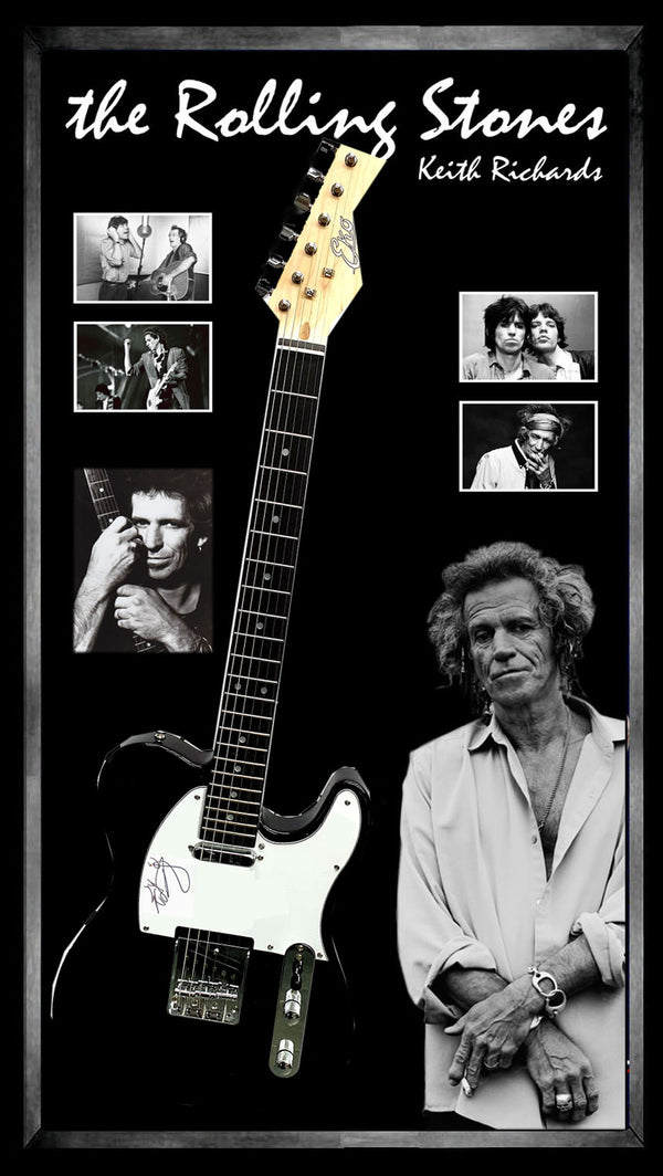 ROLLING STONES KEITH RICHARDS – SIGNED & FRAMED ELECTRIC GUITAR DUAL AUTHENTICATED BY BECKETT & JAMES SPENCE