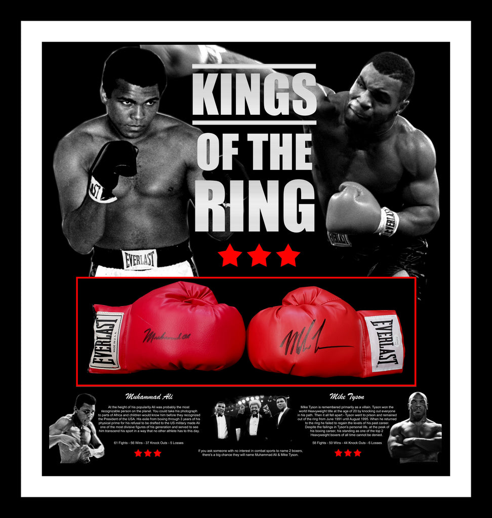 'KINGS OF THE RING' Muhammad ALI & Mike TYSON Dual signed Boxing Gloves Tribute