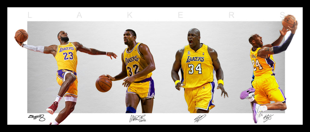 LAKERS Wings Style Framed Lithograph - LeBron Kobe Magic Shaq