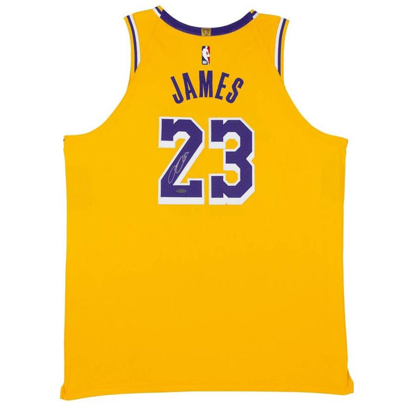 LeBron James Signed Los Angeles Lakers Gold Jersey with Upperdeck Authentication