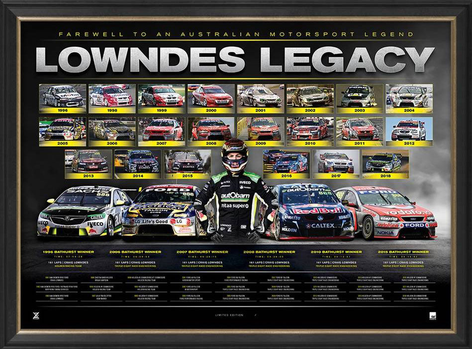 Craig Lowndes – Legacy – Deluxe Retirement Lithograph Framed Limited Edition