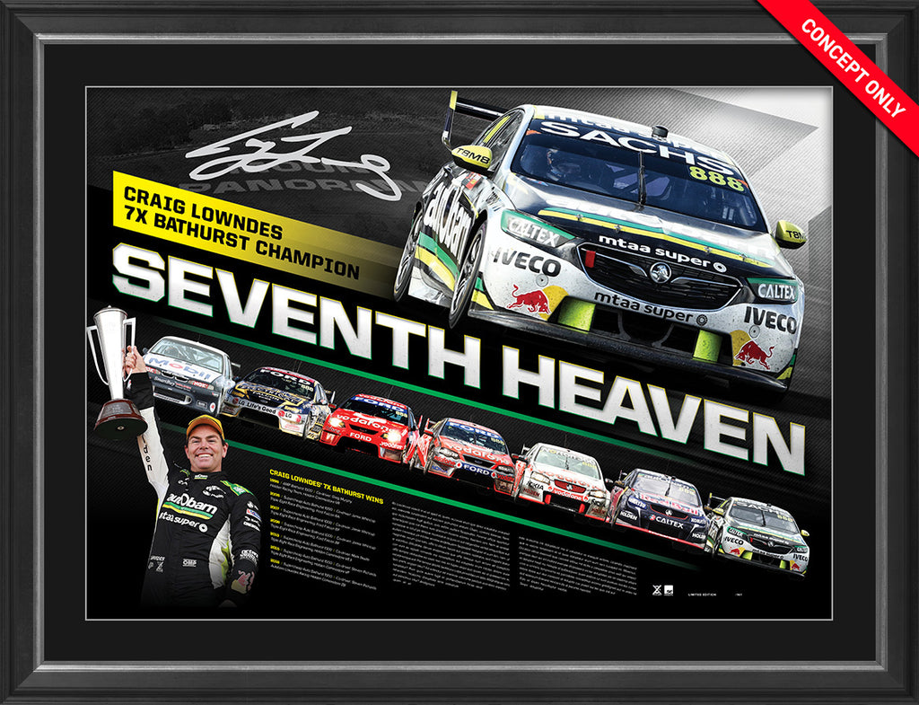 2018 Craig Lowndes 'Seventh Heaven' Bathurst Tribute Signed & Framed Limited Edition - FREE BONUS