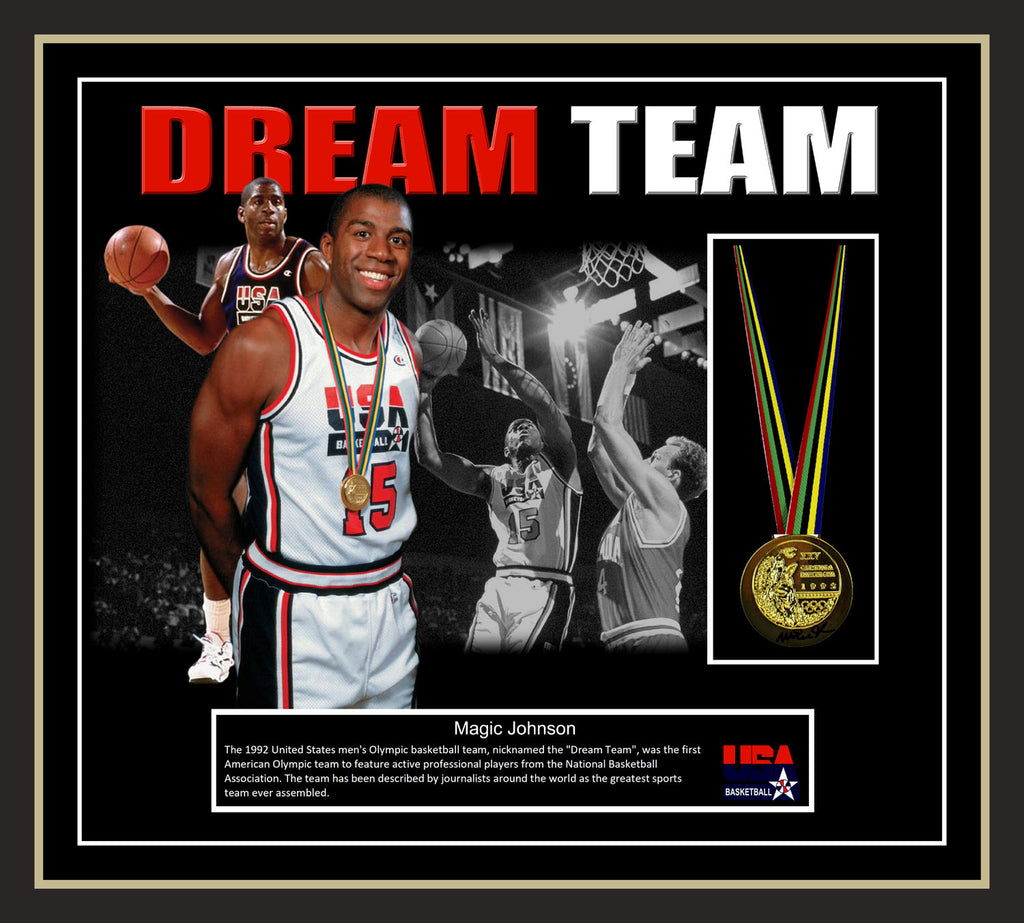 Magic Johnson 1992 USA Dream Team Signed & Framed Gold Medal with Beckett USA Witnessed