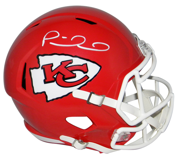 Patrick Mahomes Quarterback for the Kansas City Chiefs hand signed Chiefs Riddell Speed full-size replica helmet with James Spence Authentication