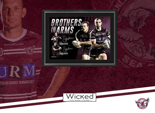 'Brothers in Arms' Tom & Jake Trbojevic Hand Signed Manly Sea Eagles Framed