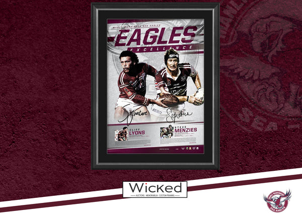 Manly Dual Signed 'Eagles Excellence' Menzies Lyons Framed