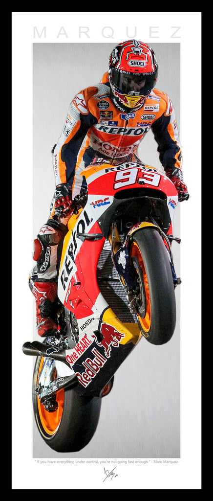 Marc MARQUEZ Vertical WINGS Wheelie Tribute FRAMED Lithograph