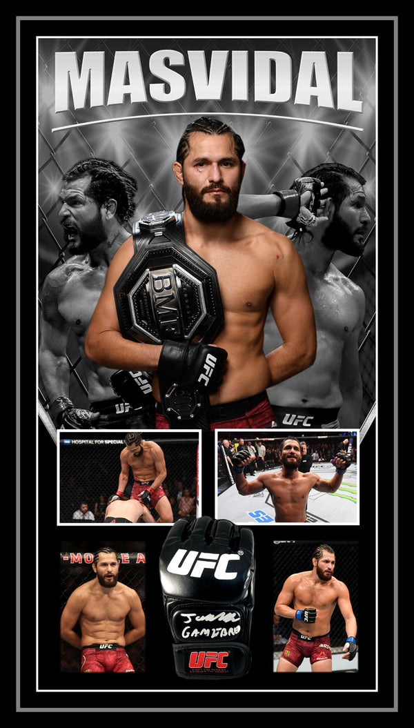 Jorge Masvidal Signed & Framed UFC Glove with PSA DNA Authentication