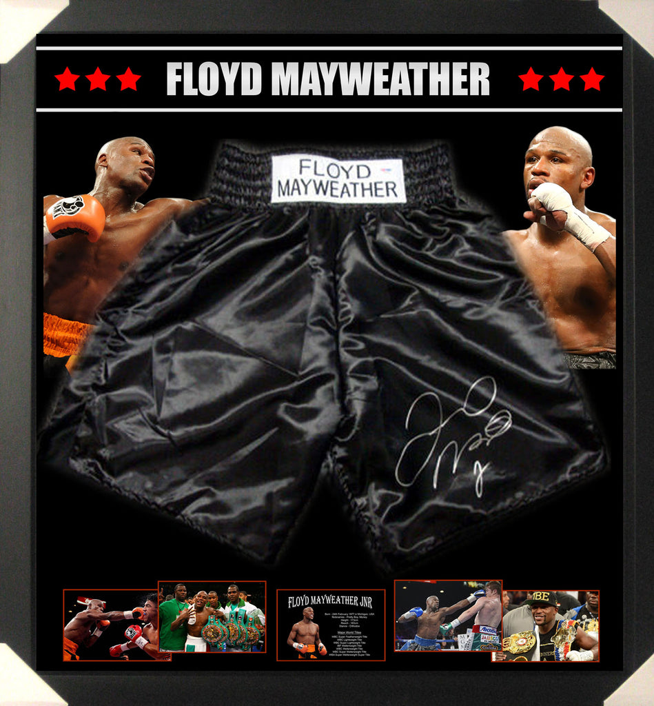 FLOYD MAYWEATHER FRAMED BOXING SHORTS TRUNKS SIGNED IN PRESENCE OF PSA DNA