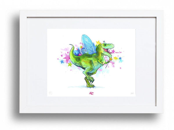 Lora Zombie Limited New Release - Meow-Rex - 1st Edition Art Framed