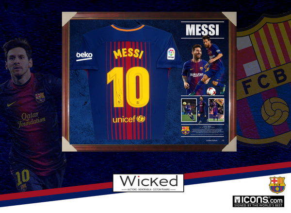 2018 Lionel Messi Signed & Framed Shirt Jersey - Authenticated by Messi Foundation & Icons UK