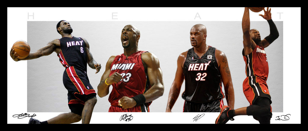 Miami HEAT Wings Style Framed Lithograph - Wade LeBron Shaq Mourning