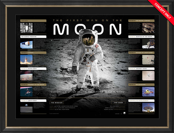 'The First Man on the Moon' Framed Lithograph