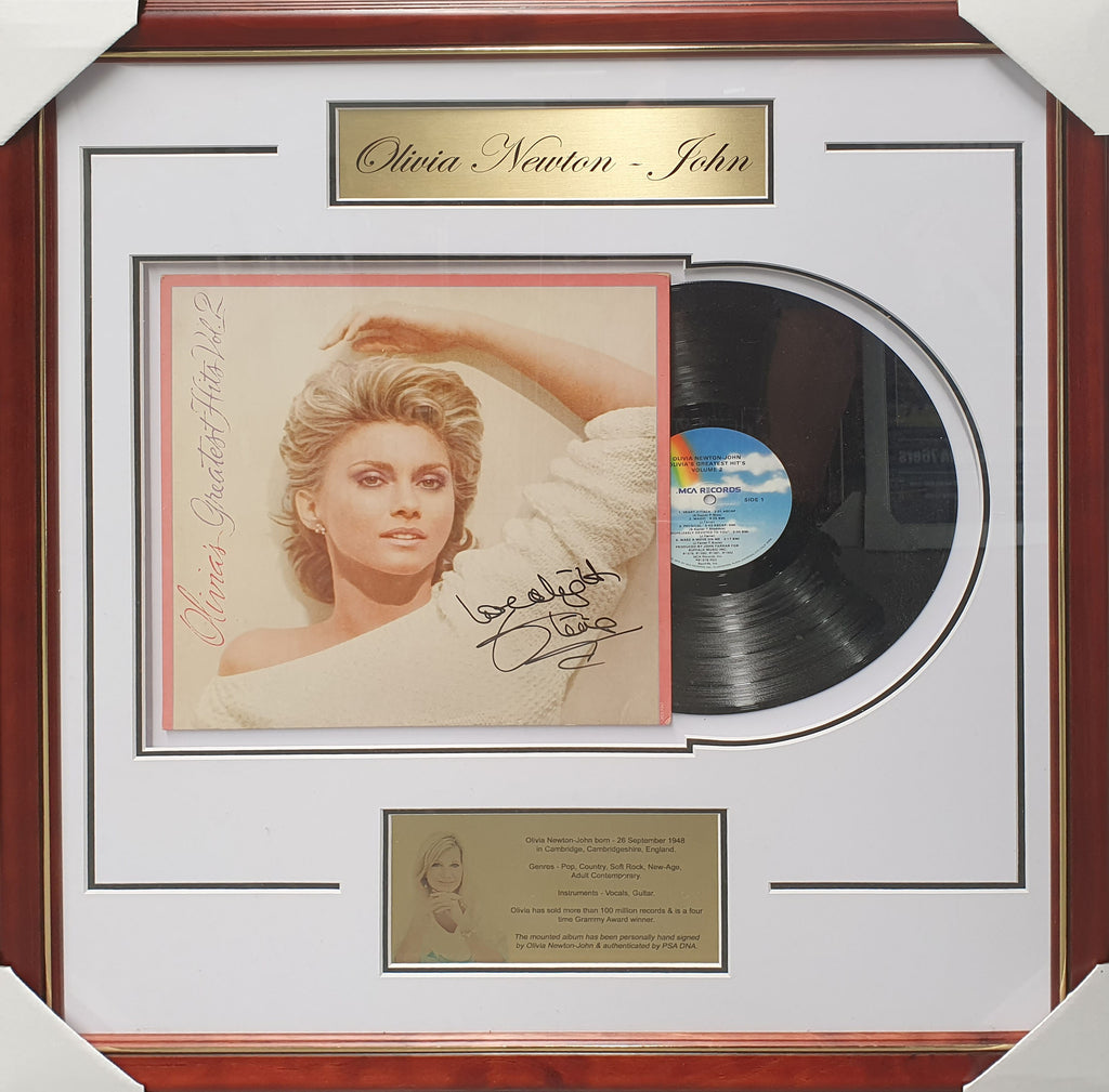 Olivia Newton - John Signed & Framed Vinyl Album PSA DNA Authenticated Y63827