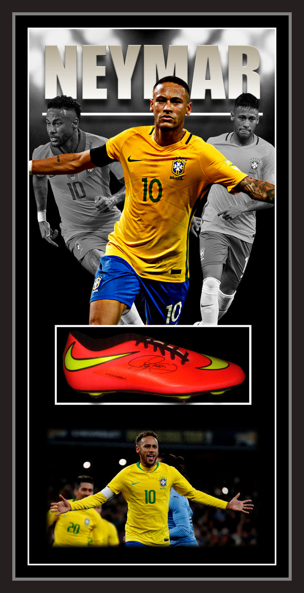 NEYMAR JNR Brazil SIGNED & FRAMED FOOTBALL BOOT ICONS UK