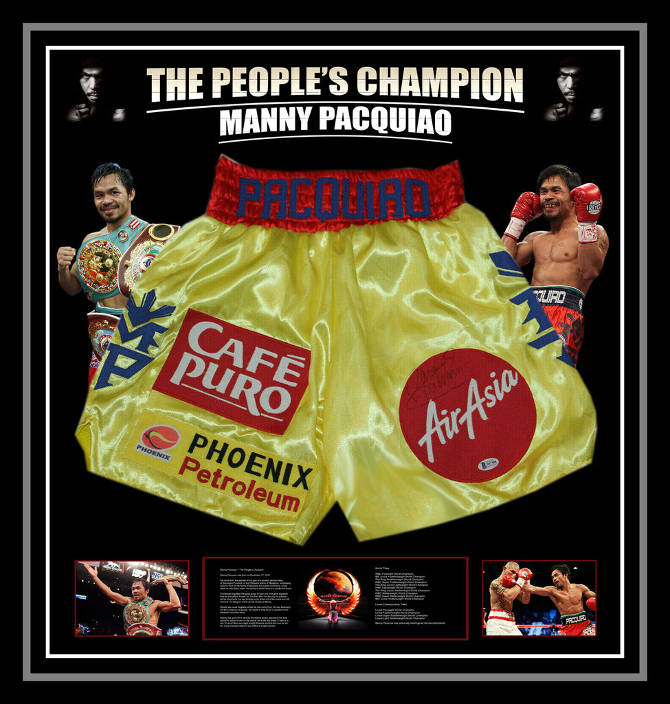 Manny Pacquiao 'Pacman' Signed & Framed Yellow Trunks with Beckett USA Authentication