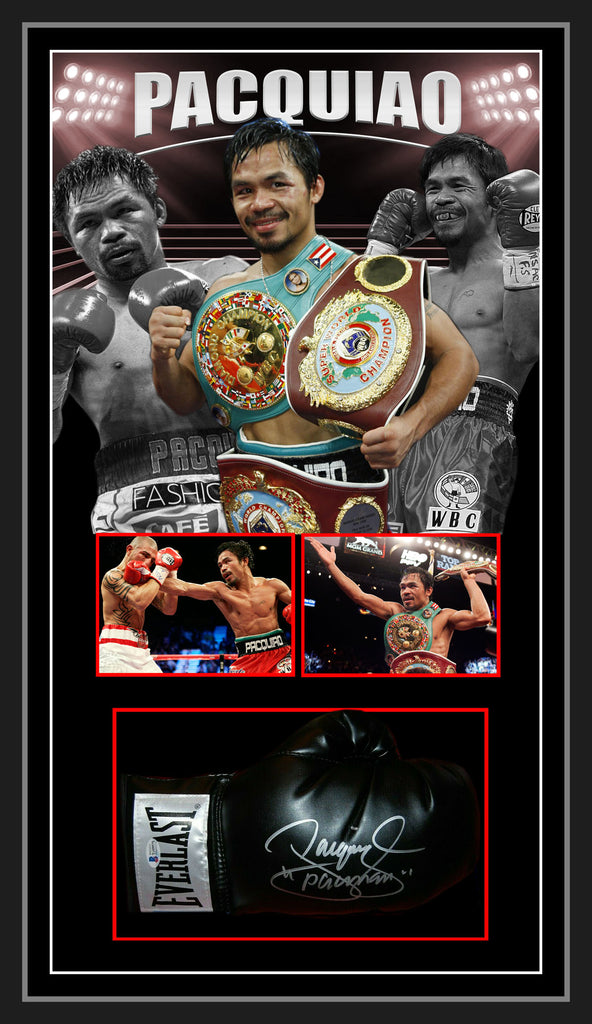 Manny PACQUIAO Signed & Framed Black Boxing Glove with Beckett Authentication