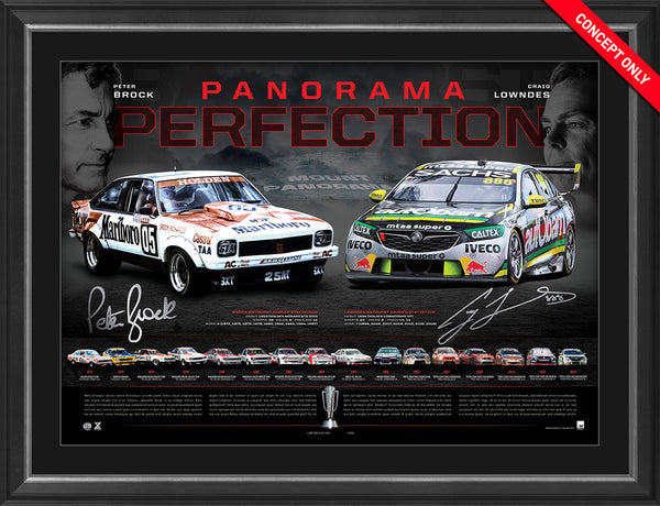 2018 'Panorama Perfection' - Craig Lowndes & Peter Brock - Framed Limited Edition Lithograph Edition #88