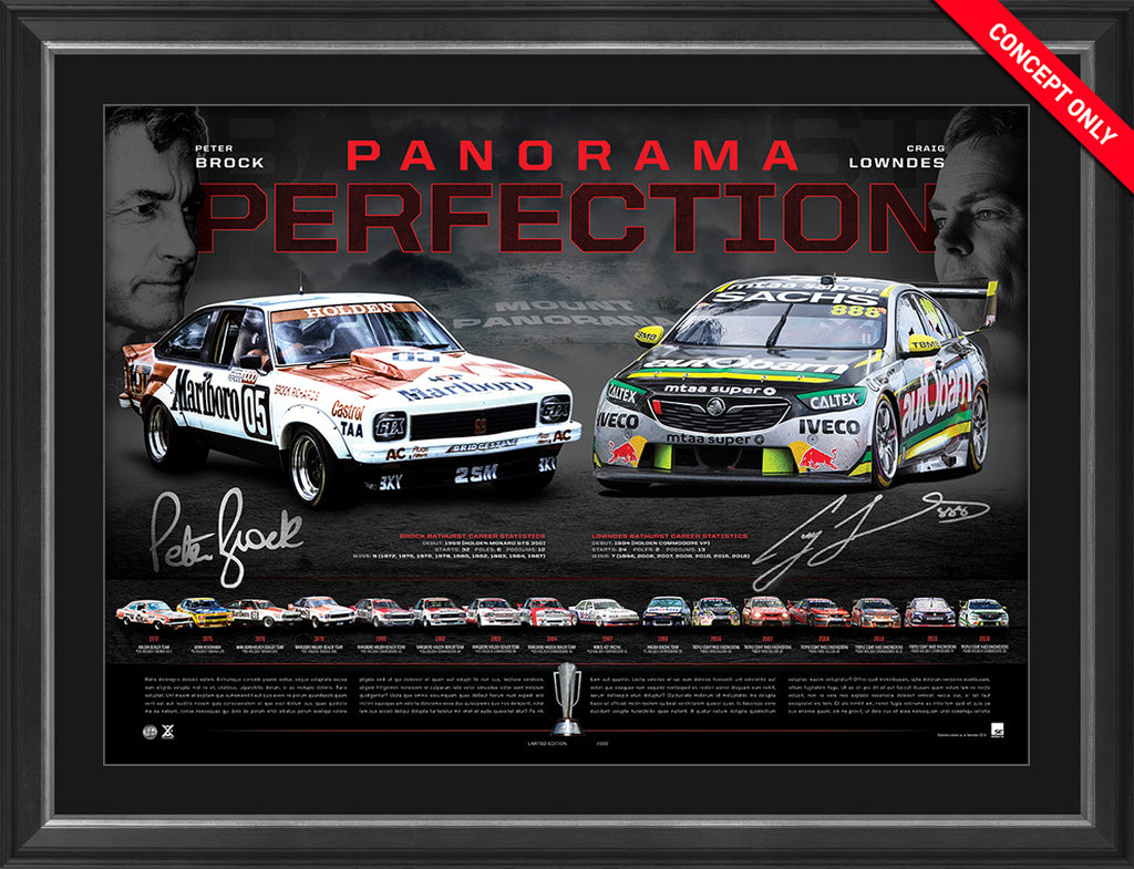 Panorama Perfection Hand Signed Deluxe Edition - Peter Brock & Craig Lowndes Framed Ltd Ed