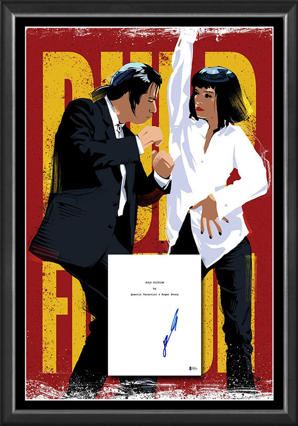 PULP FICTION John Travolta Signed & Framed Movie Script Case with Beckett USA authentication