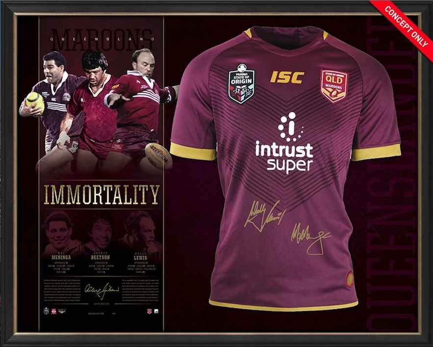 Queensland Signed Official NRL Immortals Jersey Framed Wally Lewis Mal Meninga