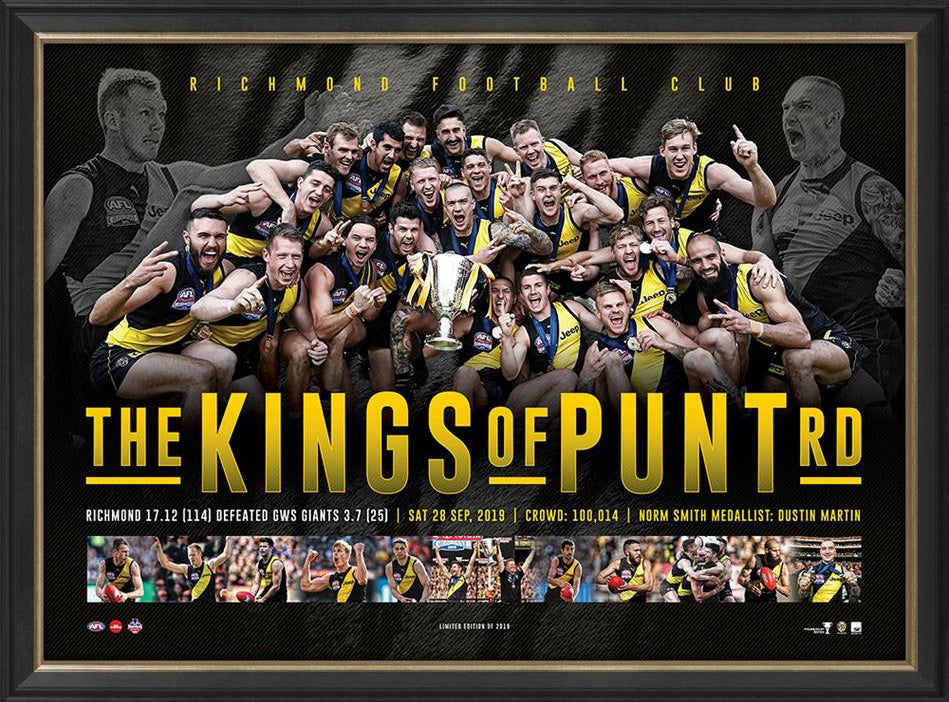 Richmond Tigers 2019 Premiers Framed Sportsprint – KINGS OF PUNT RD - Memorabilia