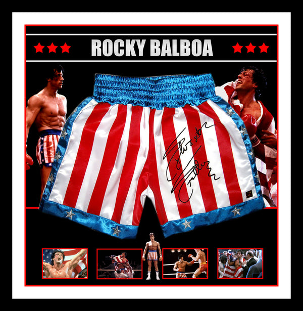Sylvester Stallone Rocky Balboa Hand Signed & Framed Trunks - Exclusive to Wicked Memorabilia