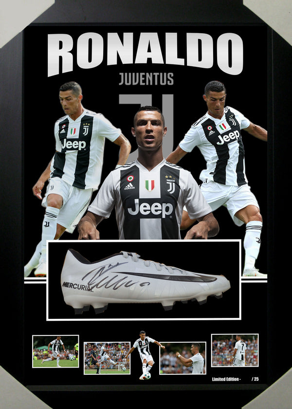 Cristiano Ronaldo Juventus Signed & Framed Limited Edition Boot - Icons UK Authenticated FREE Shipping
