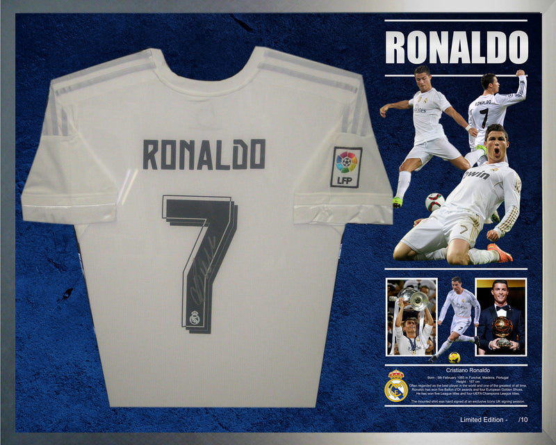 best website 2c1dd 8cc64 Cristiano Ronaldo Signed & Framed Real Madrid Shirt Jersey - Authenticated  by Icons UK
