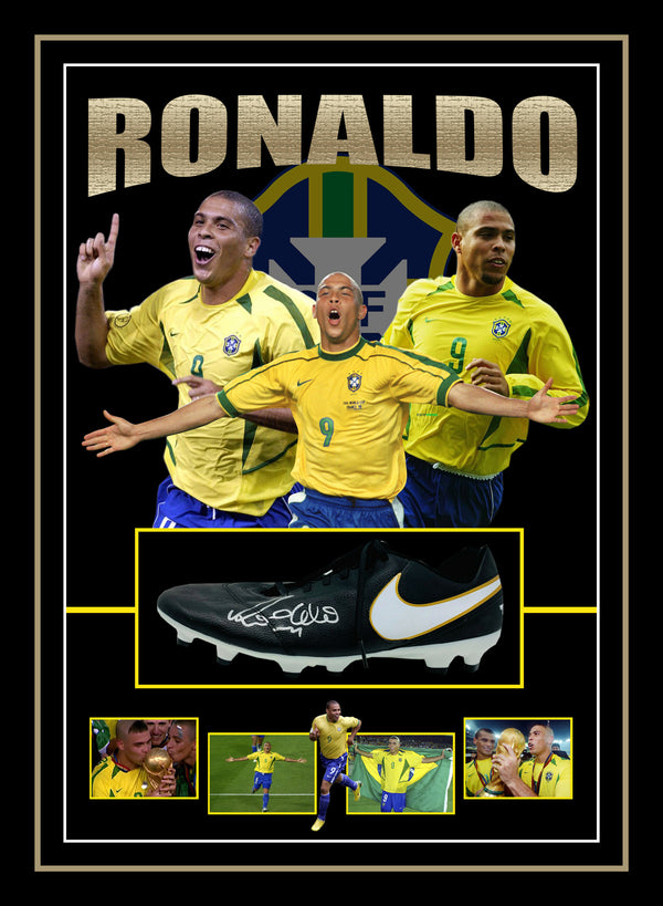 Ronaldo Luís Nazário de Lima Signed & Framed Football Boot with Beckett Authentication