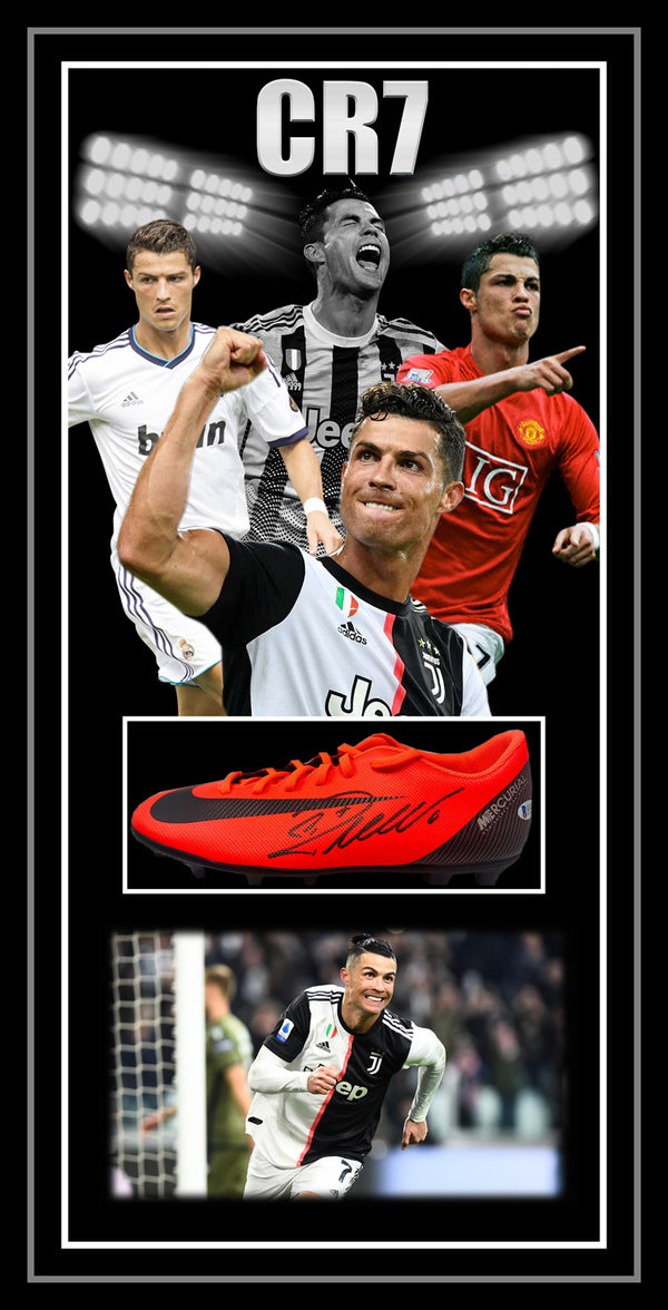 Cristiano RONALDO CR7 Signed & Framed Football Boot - Beckett USA Authenticated
