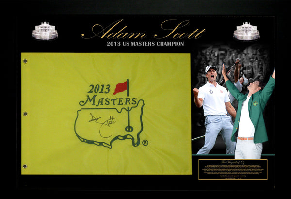 ADAM SCOTT 2013 US MASTERS CHAMPION PIN FLAG SIGNED & FRAMED LIMITED EDITION GOLF TRIBUTE - James Spence USA