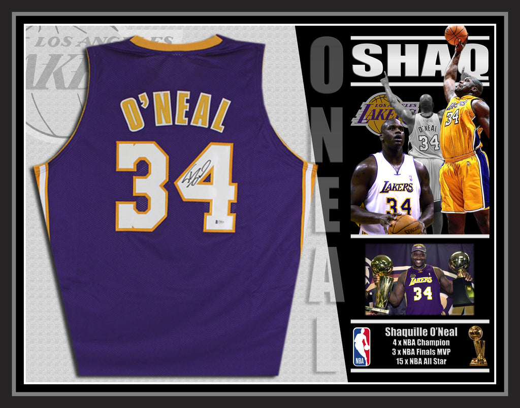 Shaquille O'Neal LA Lakers Signed & Framed Purple Jersey with Beckett USA Authentication