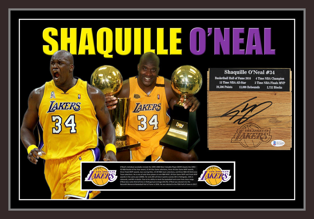 Shaquille ONEAL LA Lakers Signed & Framed Floorboard with Beckett USA Authentication