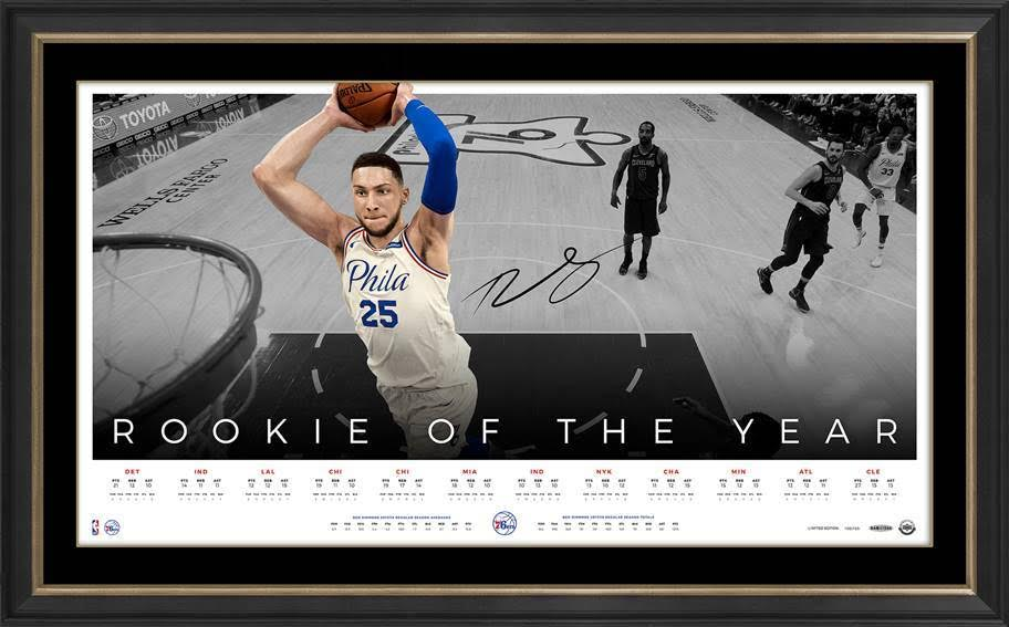 BEN SIMMONS SIGNED 'ROOKIE OF THE YEAR' LITHOGRAPH FRAMED LIMITED EDITION UPPERDECK