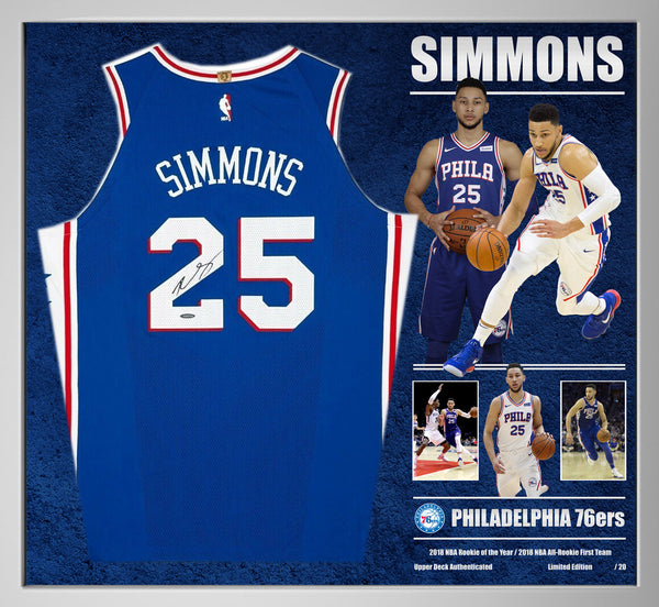 Ben Simmons Philadelphia 76ers Signed & Framed Jersey with Upperdeck Authentication.