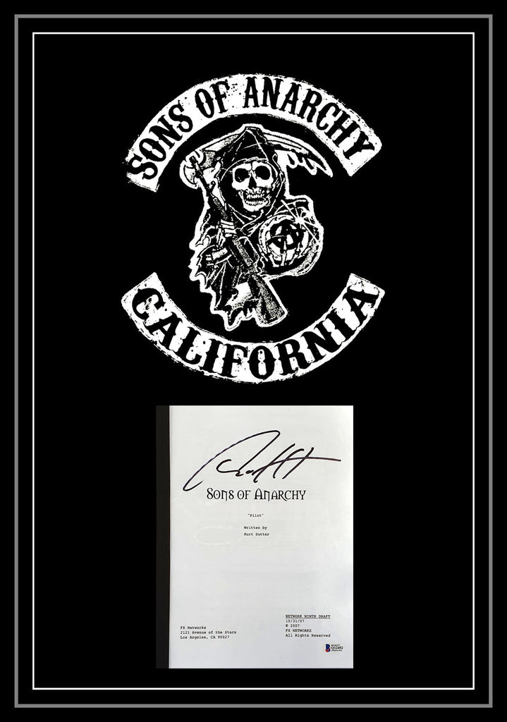 SONS OF ANARCHY - CHARLIE HUNNAM Signed & Framed Script Case with Beckett USA authentication !!!!