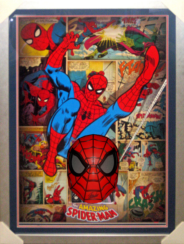 SPIDERMAN MASK - STAN LEE - SIGNED & FRAMED EXCELSIOR  AUTHENTIC APPROVED