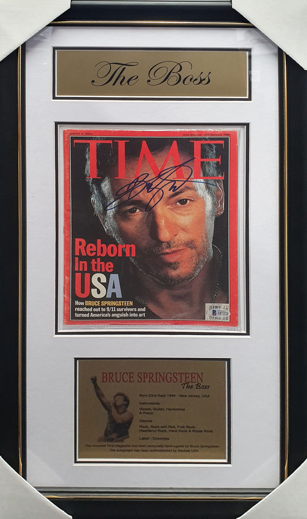 Bruce SPRINGSTEEN Signed & Framed Time Magazine Beckett Authenticated