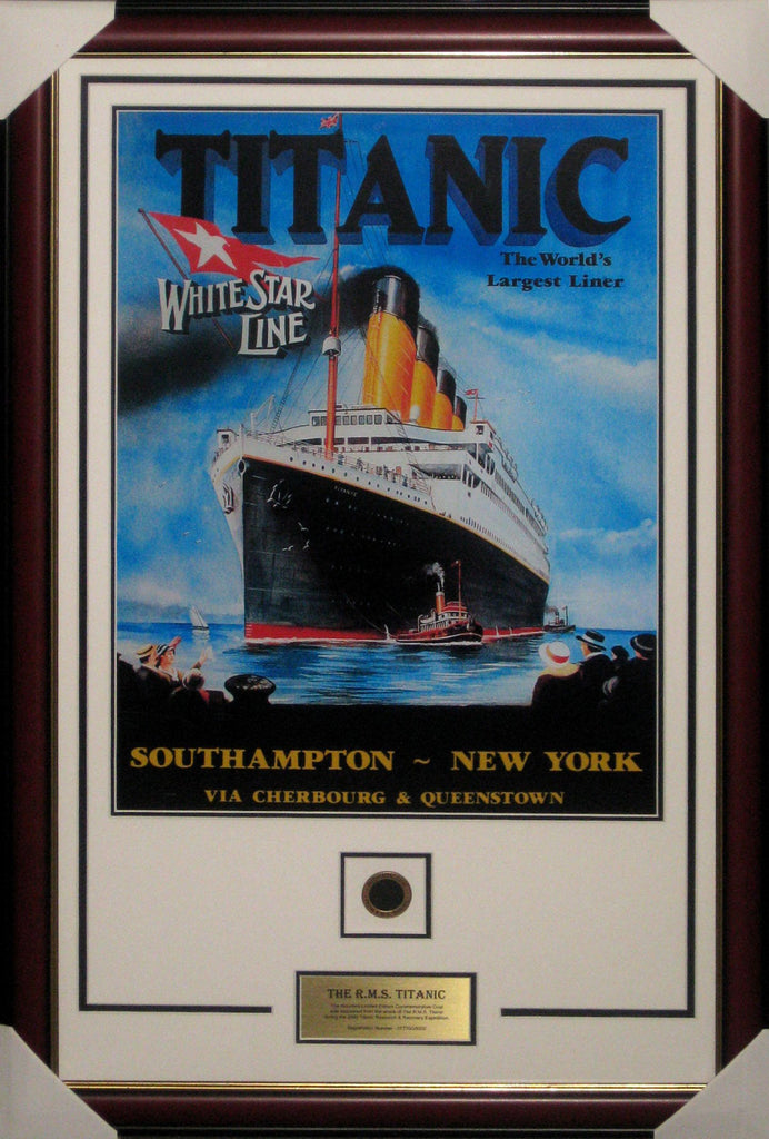Titanic Framed with Coal from the Ship Wreck