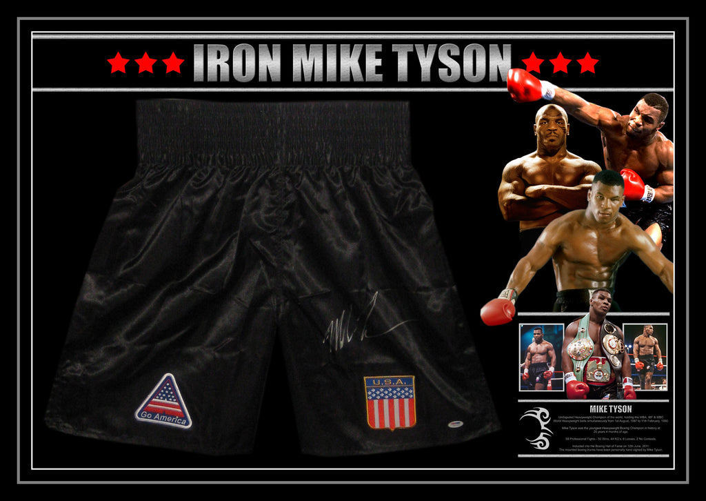 Mike TYSON Signed & Framed Boxing Trunks with Beckett Authentication