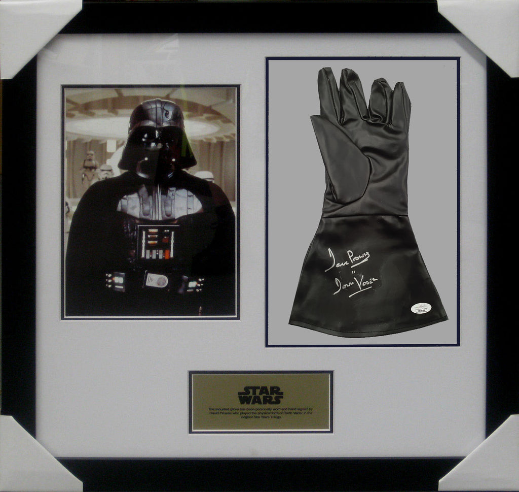 DARTH VADER STAR WARS DAVID PROWSE SIGNED & FRAMED GLOVE James Spence JSA Authenticated