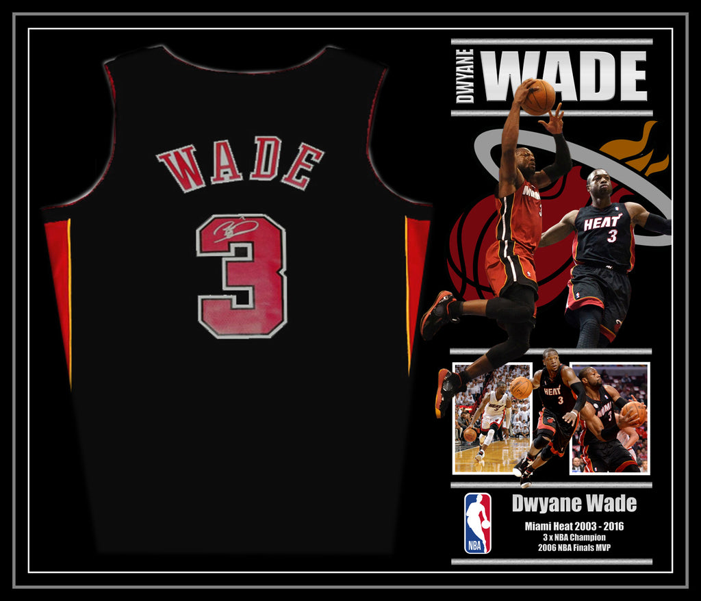 Dwyane WADE Miami Heat Signed & Framed Jersey with James Spence USA Authentication